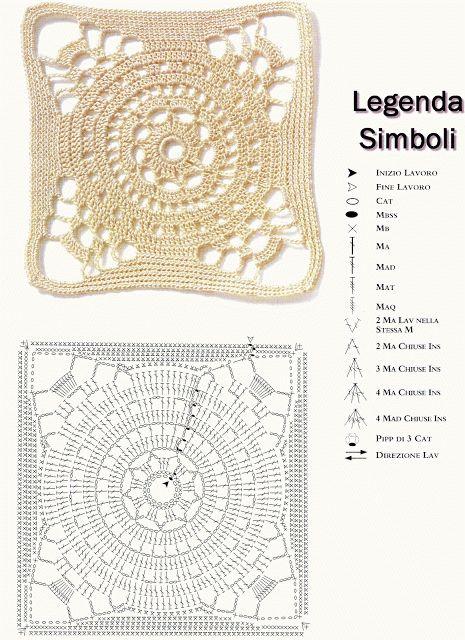 Intrecci Incantati: Quadrati all'uncinetto. Crochet square with diagram.