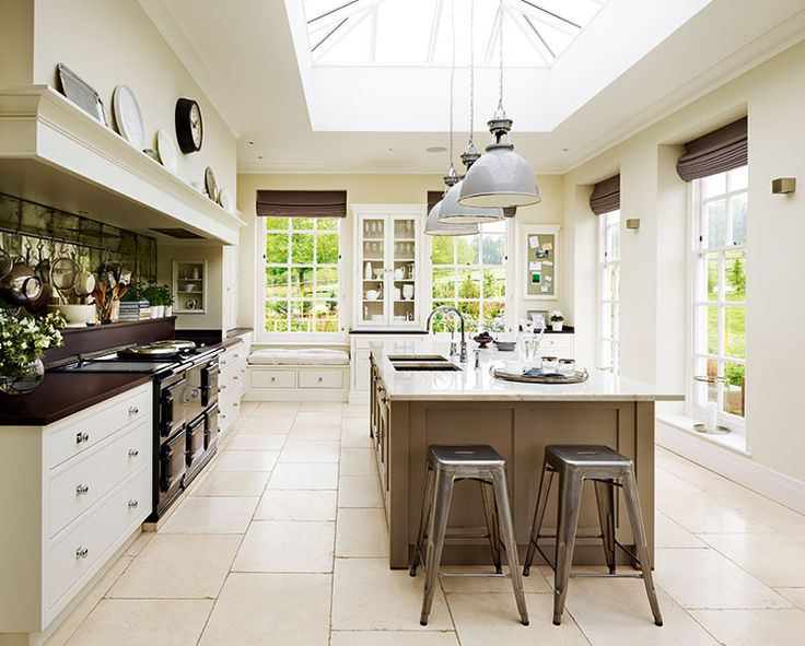 Martin Moore kitchen in extension to Georgian home with roof lantern