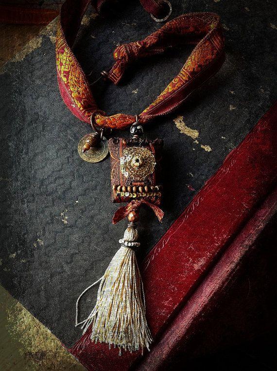 RESERVED Gypsy necklace with decadent textiles von quisnam auf Etsy                                                                                                                                                      Mehr