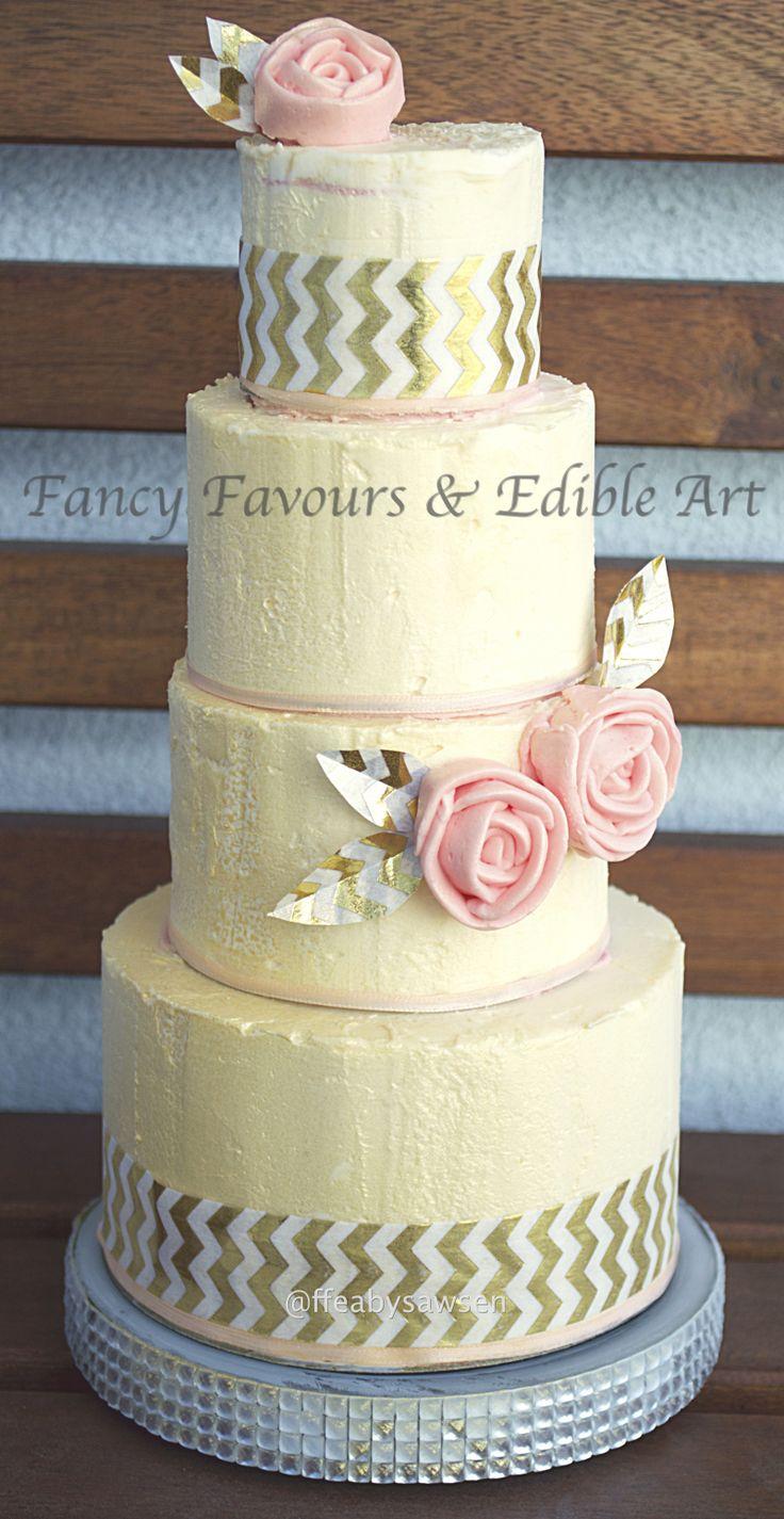 rustic buttercream rose mini tiered cake | Fancy Favours & Edible Art -- #rustic #swissmeringue #buttercream #smbc #rose #piped #modern #cake #occasion #chevron #gold #pink #ivory #customcake #raspberry #vanilla