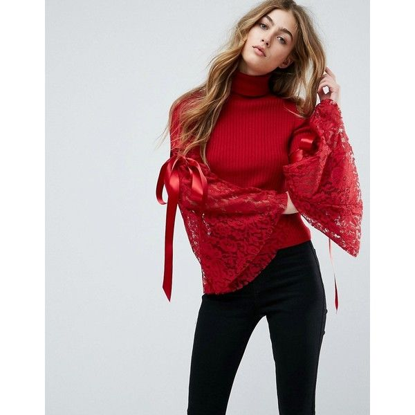 ASOS Jumper with High Neck and Lace Flare Sleeves ($49) ❤ liked on Polyvore featuring tops, sweaters, red, high neck sweater, bell sleeve tops, flared sleeve top, bell sleeve sweaters and lace sleeve sweater