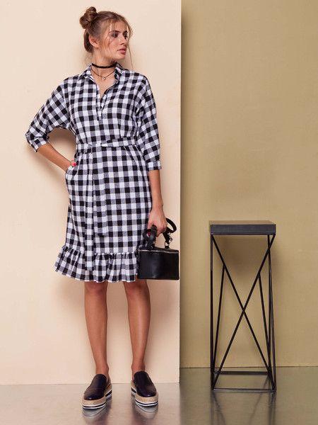 MODNA SUKIENKA W KRATĘ  GR1482/42 - TheCover - Sukienki mini