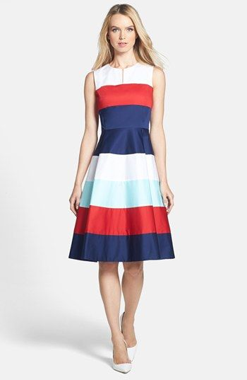 kate spade new york 'corley' stretch cotton fit & flare dress available at #Nordstrom
