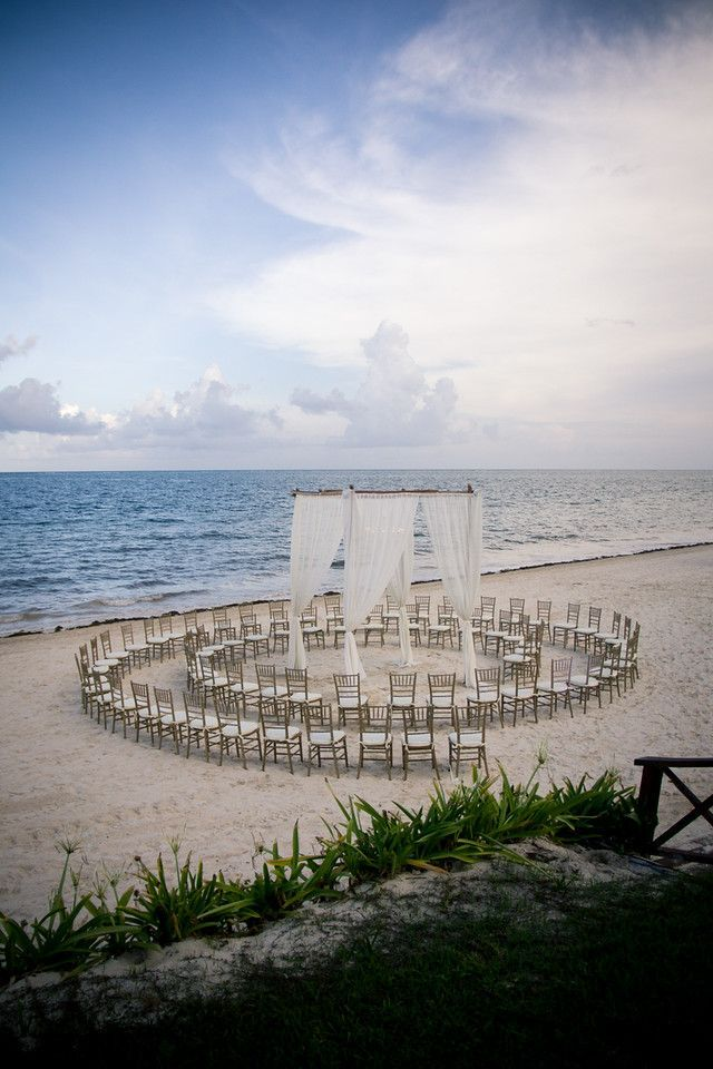 A unique way to set up your beach ceremony so everyone has a great view.