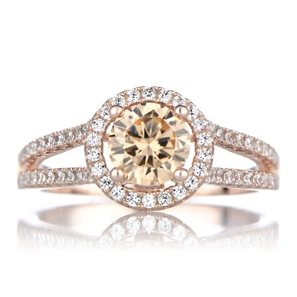 Ariane's Rose Gold Engagement Ring - Champagne CZ with Halo