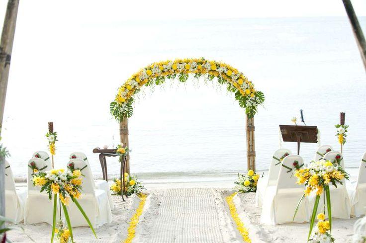 Hello Yellow!  Beach ceremony Thailand.