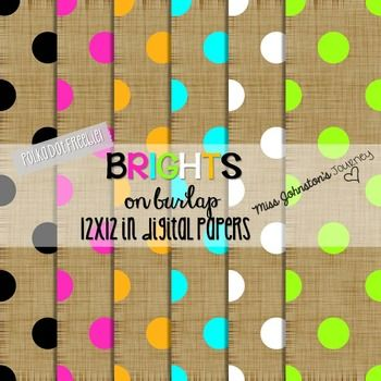Enjoy this freebie from my Brights-on-Burlap-Digital-PapersThinking burlap for your classroom theme this year? These would be perfect to make everything cute and cohesive!This freebie includes 6 digital papers! They are 12x12inches and were created in 300dpi.