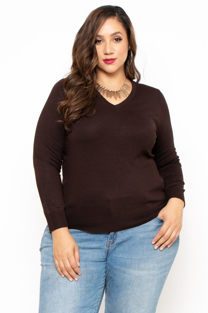 9a874183ee Plus Size V-Neck Sweater - Dark Brown This plus size