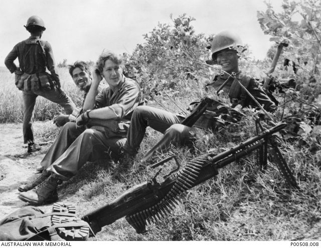 Mekong Delta, South Vietnam, 1972. Australian cameraman Neil Davis resting while on patrol with South Vietnamese troops during the Communists' Spring offensive.