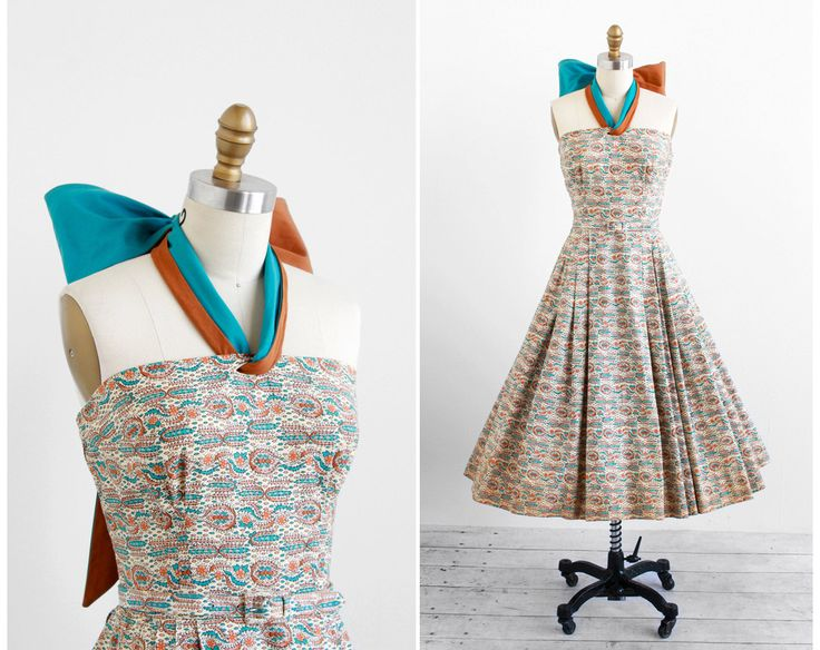 vintage 1950s dress / 50s dress / Blue and Tan Paisely Party Dress with Enormous Bow Halter Tie