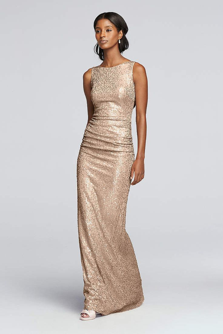 Best 25 sequin bridesmaid dresses ideas on pinterest sequin long sequin tank dress with cowl back davids bridal ombrellifo Image collections