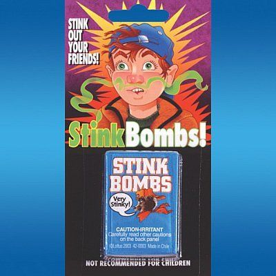 Stink Bombs - 3 Pack by Loftus. $2.49. Smells terrible. 3 bombs in each package. Whether your goal is to clear out a whole room or play a practical joke on your friends or family these Stink Bombs are sure to gross out your intended victims. Just break the Stink Bombs open and watch everybody run.