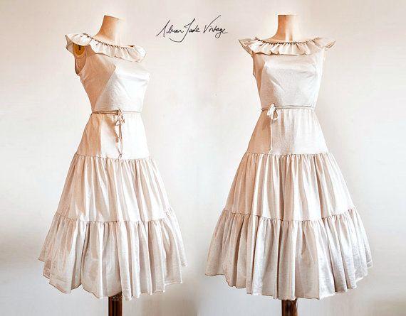 Sleeveless Cream Party Dress / 1970's Cream by AdrianJadeVintage