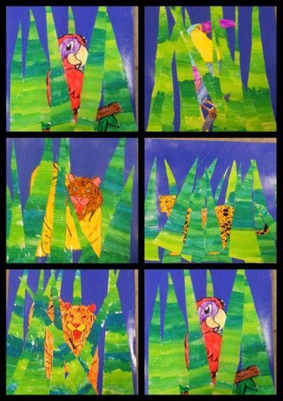 """Arts visuels à partir des """"tableaux de Marcel"""" : travail autour de la couleur et du """"Douanier Rousseau"""""""