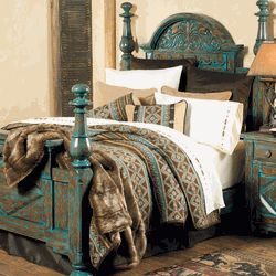 Mountain Mesa Turquoise Bedroom Collection With A Worn Turquoise Finish.