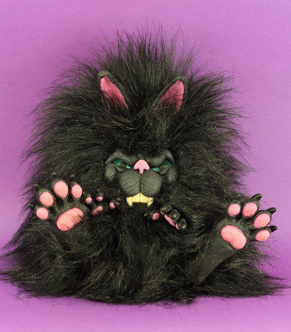 Teddy Bear Bunny plushie Scary gothic sculpt evil vampire but so cute handmade artist art doll sculpted fluffy furry creature black Thump