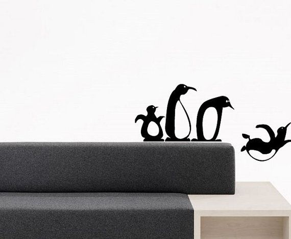 Wall Vinyl Sticker Decals Mural Design Art Cute Angry Funny Bird Pinguins Diving Jumbing Cartoon 736