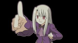 Preview wallpaper fate stay night, illyasviel von einzbern, girl, finger, smile 1920x1080