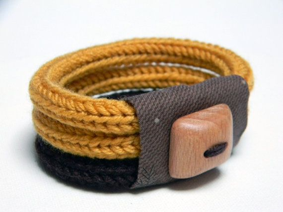 Knitted bracelet, wool and fabric, mustard yellow and chocolate brown - TRE - Ready to ship