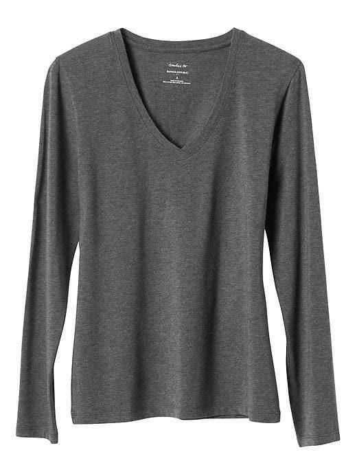 Banana Republic Timeless Long Sleeve V Neck T Shirt Tee Top Blouse Black NWT