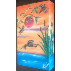 Oils on Canvas - Sunset frogg -  Pewter Art Picture Handcrafted for R350.00