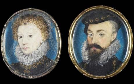 """A pair of miniature paintings thought to have been commissioned by Elizabeth I to mark the end of her relationship with Robert Dudley.  Elizabeth I often commissioned miniatures as personal gifts. These were made to mark the end of the affair.  They can be dated to 1575. It is the year when Robert Dudley finally gave up his hope of marrying Queen Elizabeth I. Both Elizabeth I & the Earl of Leicester were patrons of the artist, Nicholas Hilliard, """"the father of miniatures""""."""