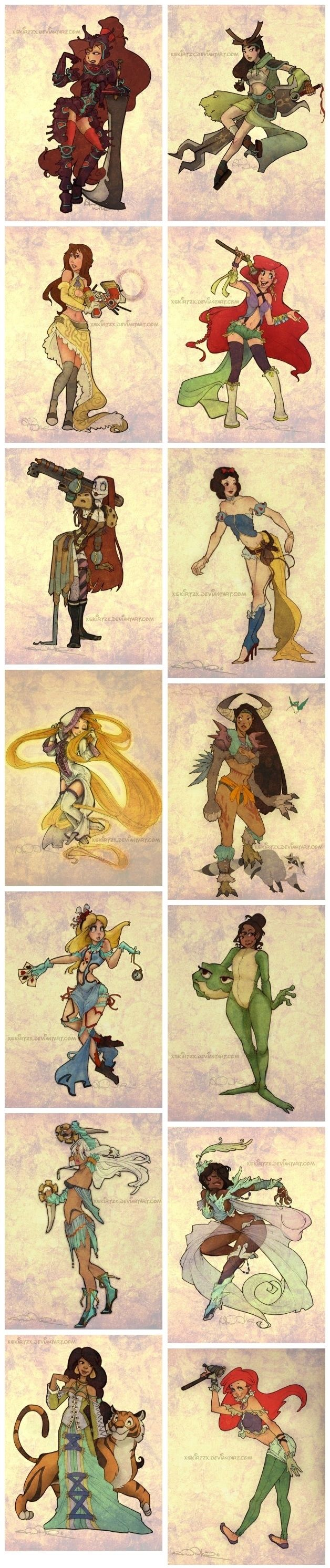 Final Fantasy Style Disney Princesses. I'm pretty sure its specifically Final Fantasy X-2.