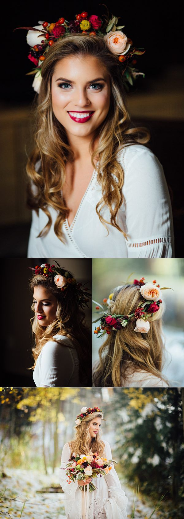Soft curls + fall floral crown | Image by Cat Mayer Studio