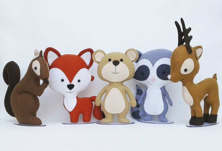 Kit animais do bosque de feltro (Tamanho Pequeno) Tags: animais, animals, bosque, floresta, safari, guaxinim, raposa, veado, servo, alce, esquilo, feltro, artesanato, diy, felt, lua, arteira, luaarteira.