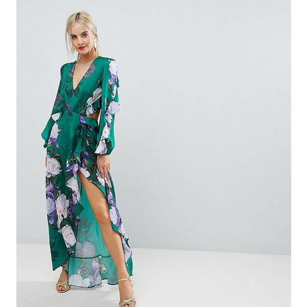 ASOS PETITE Ruffle Maxi Dress in Green Floral Print (375 PEN) ❤ liked on Polyvore featuring dresses, multi, petite, maxi dresses, petite length maxi dresses, cutout maxi dresses, cut-out maxi dresses and petite maxi dresses