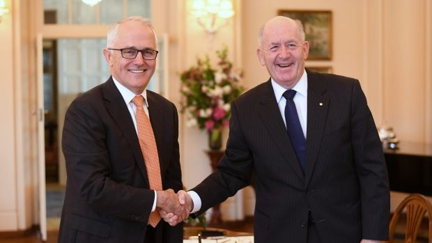 Cheers to democracy: Malcolm Turnbull and Peter Cosgrove last month.