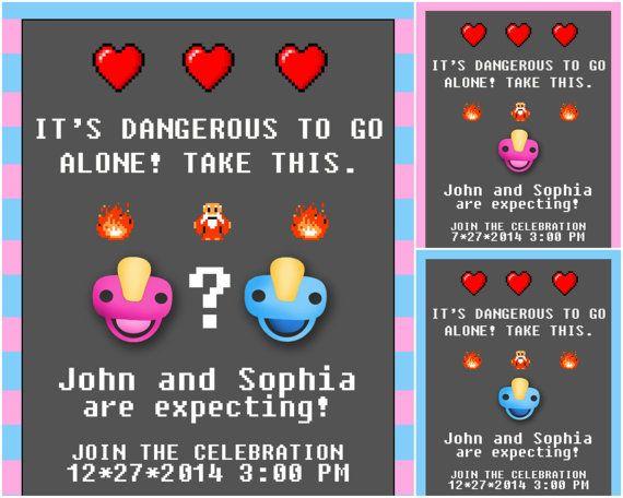 Zelda Printable Baby Shower Invite, 8 bit - boy, girl, gender neutral
