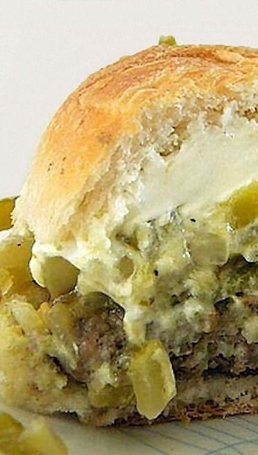Green Chile Pepper And Cream Cheese Burgers Recipe — Dishmaps