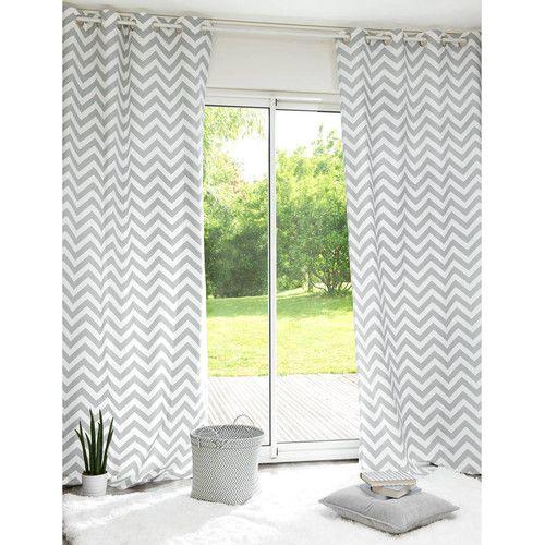 Rideau à oeillets en coton gris 110 x 250 cm INFINI Pour ton dressing, raccord avec les murs gris, petit coté graphique pop
