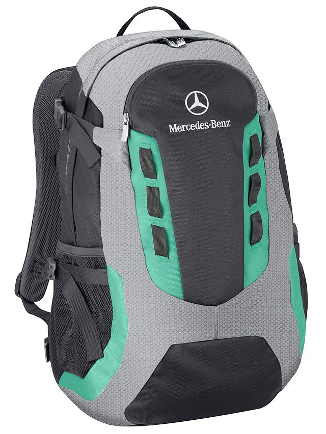 Rucksack Petronas  Part number: B67995247 Colour: anthracite/silver/Petronas green Material information: nylon / polyester  - colour: anthracite, silver, Petronas green - polyester/nylon - embroidered logo - size approx. 27 x 50 x 22 cm - capacity approx. 28 l - by Deuter for Mercedes-Benz
