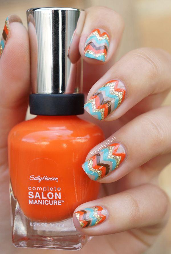 DIY Nail Art | Fall Autumn Chevrons Nail Design
