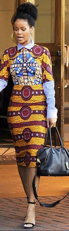 Rihanna: Dress – Stella Jean  Shoes – Manolo Blanhik  Purse – Balmain