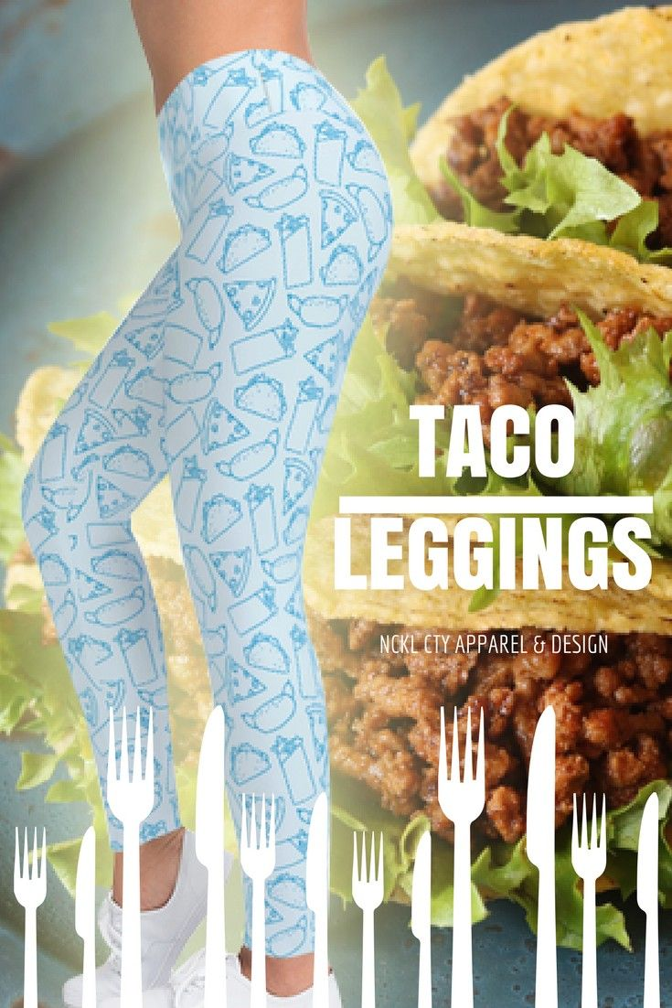 """Taco Leggings - These scrumptious """"Taco Leggings"""" feature a super-cute fast-food print featuring tacos, hot-dogs, wraps, and pizza slices!  Get a pair for yourself and satisfy your hunger! #tacoleggings #fastfoodleggings #pizzaleggings #tacosquad #tacoprint #tacoprintleggings #foodie #foodieleggings #foodiepants"""
