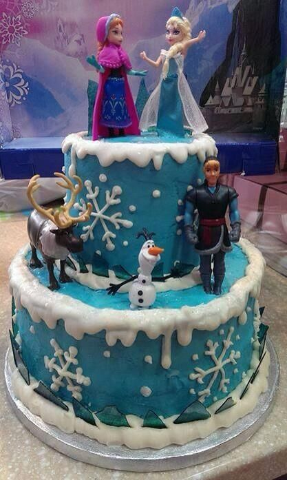 I like the top layer of the cake for an Anna Elsa theme ... I would want bottoms to represent ann and summer