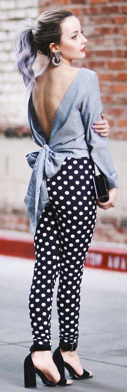 Grey Open Back Top / Black Dotted Pants / Black Sandals
