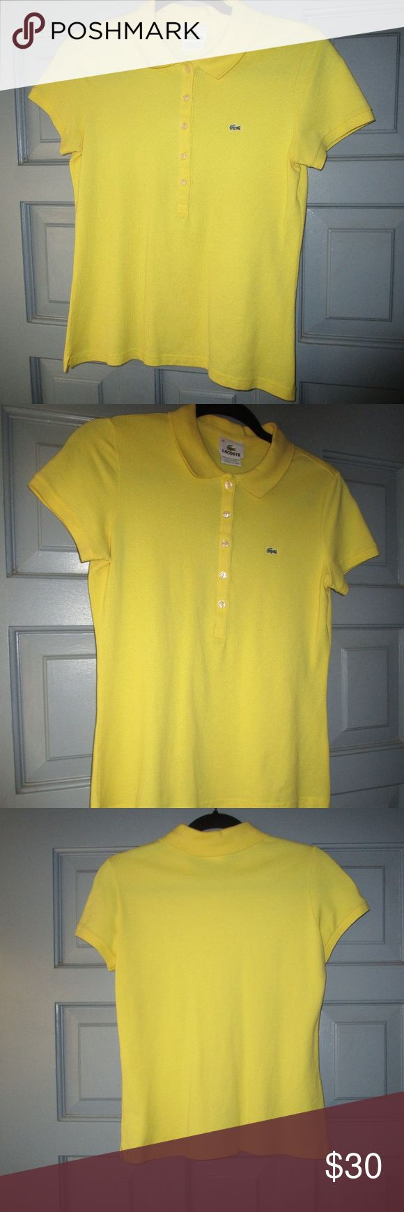 LACOSTE bright yellow polo shirt LACOSTE bright yellow polo shirt size 40. Classic polo, great condition, flattering shade of yellow. Lacoste Tops