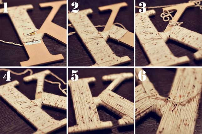 Tutorial on how to wrap letters with yarn...