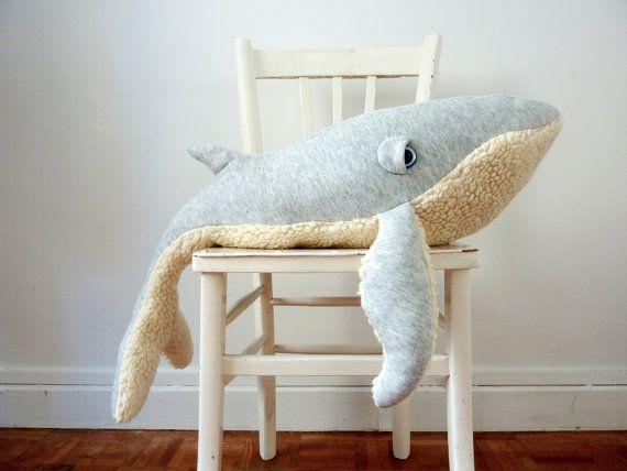 Big Handmade Plush Whale Stuffed Animal  Cotton by BigStuffed, €145.00