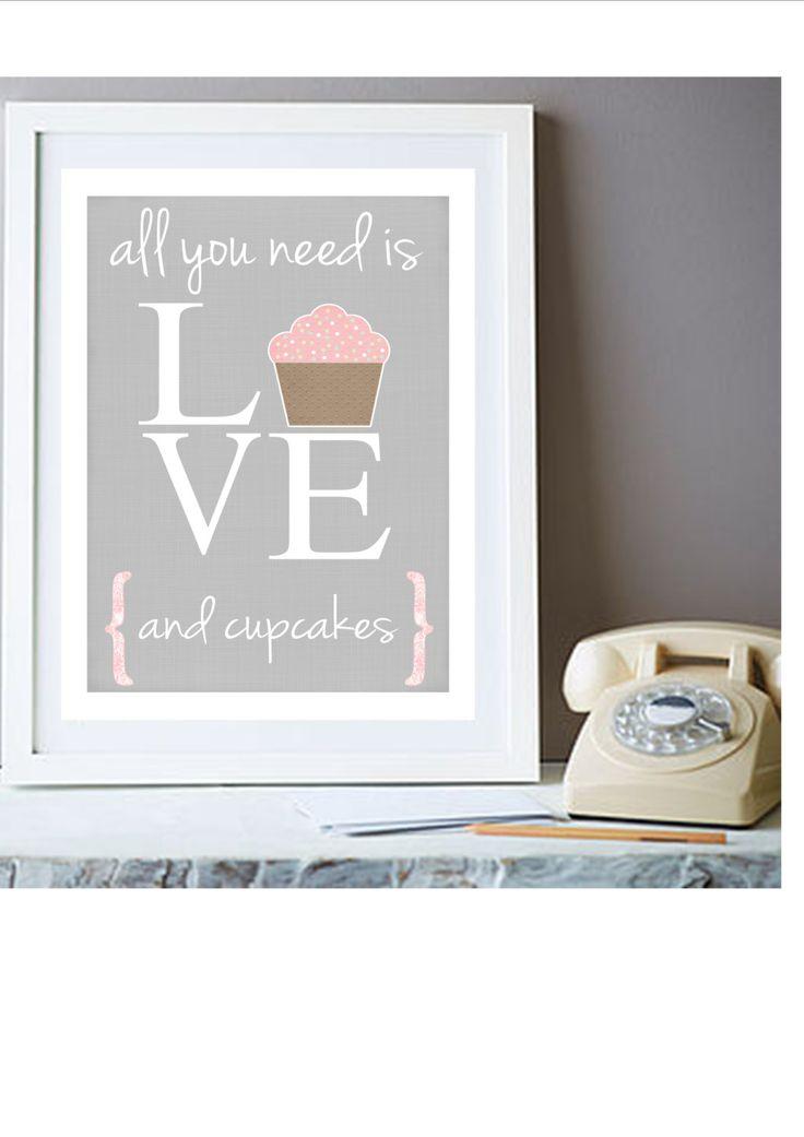 Cupcakes art print-kitchen art-cupcake art-grey home decor-cupcakes wall art-love print. £10.95, via Etsy.