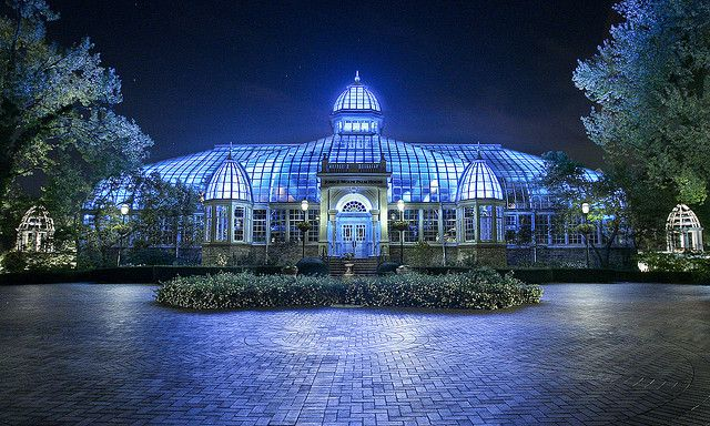 Franklin Park Conservatory, Columbus Ohio, lit for the evening