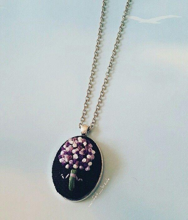 Handmade jewelries kolye yüzük kanaviçe çiçek Cross-stitch kanaviçe kolye rokoko embroidery