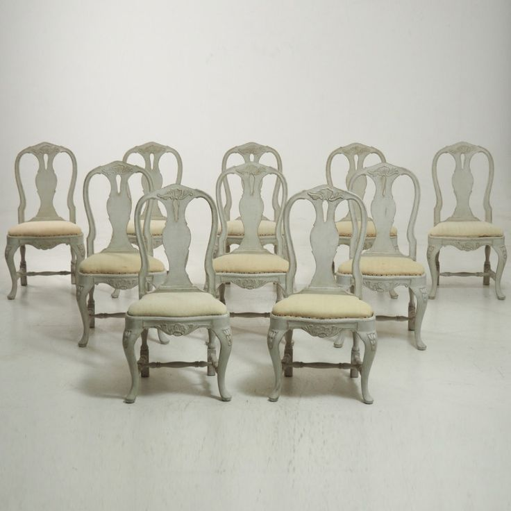 A very fine set of ten carved large Rococo chairs, circa 100 years old. Every chair has the fabric as shown on the last photo.