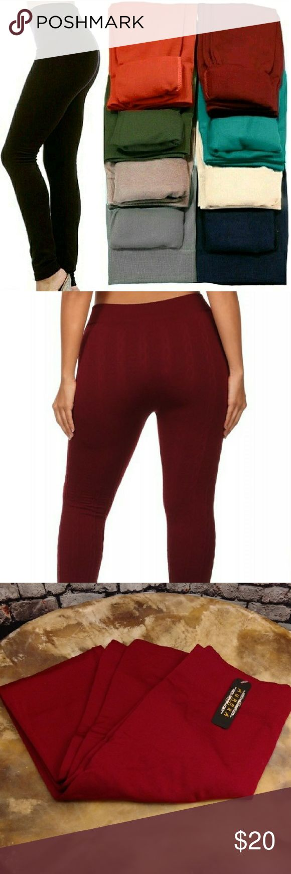 SALE!WINE Fleece Lined Leggings ONE SIZE FITS MOST (best fits S, M, L )  Super soft, very stretchy and stylish fleece leggings \ footless tights. Looks like a regular sleek legging but inside is soft and cozy fleece that is warm & comfy. Warmth and style without bulkiness. 65% Polyester, 20% Cotton, 15% Spandex.  Available in other listings: DK. BROWN, Black, CHARCOAL, MIDNIGHT BLUE & SAND.  Price Firm Unless Bundled No Trades ✔️10% Discount on bundles of 2+ ✔️Gift with purchase of 3…