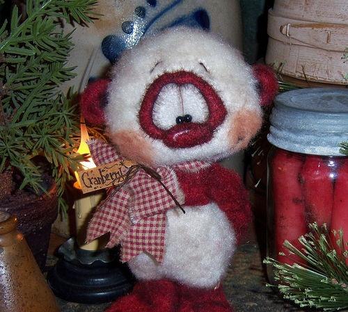 "Primitive Teddy Fuzzy Cub Panda Bear Winter 7"" Doll Vtg Patti's Ratties Ornie"
