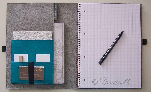 Buchhüllen - Schreibmappe A4 Organizer mit Collegeblock - ein Designerstück von Maultaeschle-bw bei DaWanda